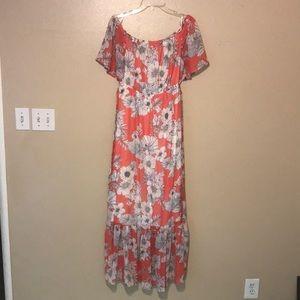 Orange/ light blue floral maxi dress